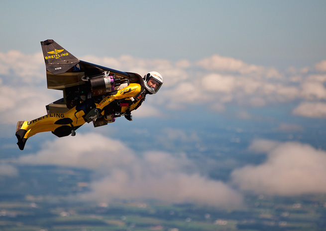 Yves Rossy, the Breitling-sponsored Jetman, supplied turbine thrills on a smaller scale in the absence of a military presence at EAA AirVenture. Mike Shore photo, courtesy Breitling