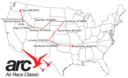 Air Race Classic route map