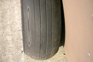 Tire fabric showing