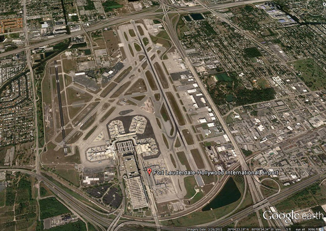 Google Earth view of Ft. Lauderdale-Hollywood International Airport (2011 image).