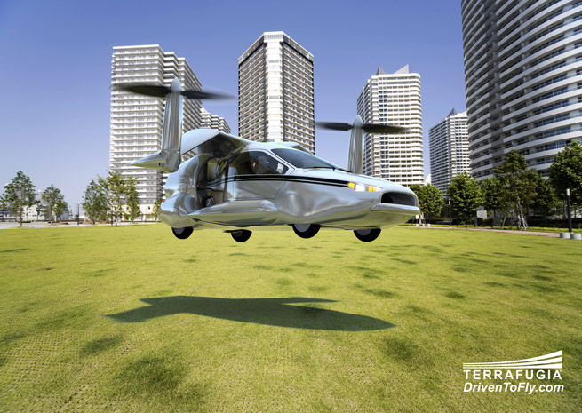 Terrafugia said its TF-X will take off and land vertically, using quiet electric motors.