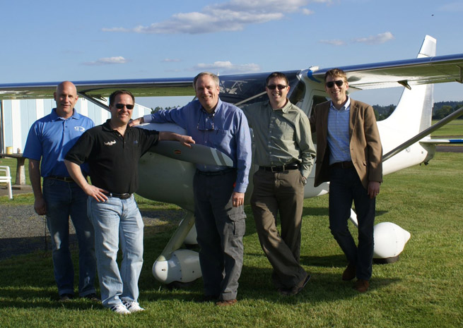 A Dynon employee flying club, known as the Swamp Creek Flyers, now has its own aircraft, a Glasair Sportsman that the members built. Left to right: Kirk Kleinholz, David Weber, Robert Hamilton, Ian Jordan, and Paul Dunscomb.