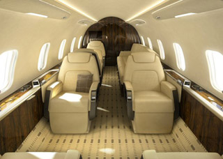 Challenger 350 interior. Image courtesy Bombardier Aerospace.