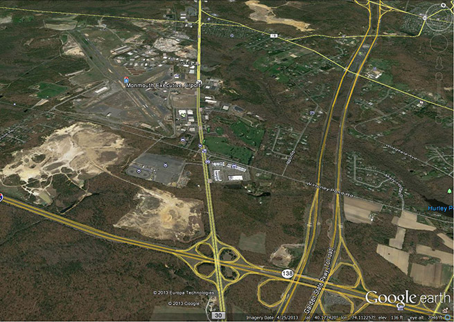 Monmouth Executive Airport is in an enviable location, just over 60 miles by road from Manhattan. Google Earth image.