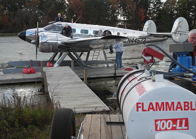 A fuel dolly makes for quick fueling of seaplanes at the dock just off the runway at Joe Starnes Field in Guntersville, AL.