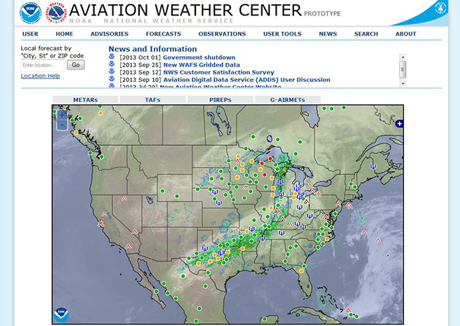 The federal website that provides aviation weather products to pilots has been given a new look.