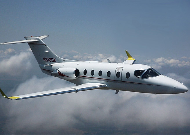 Flight tests on winglets, part of the Hawker 400XPR upgrade package, began in May. Beechcraft Corp. photo.