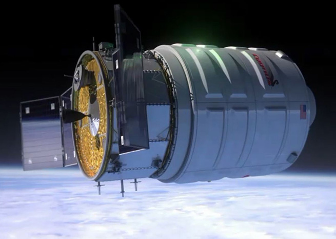 An animation of Cygnus in flight. (Image from NASA TV stream)