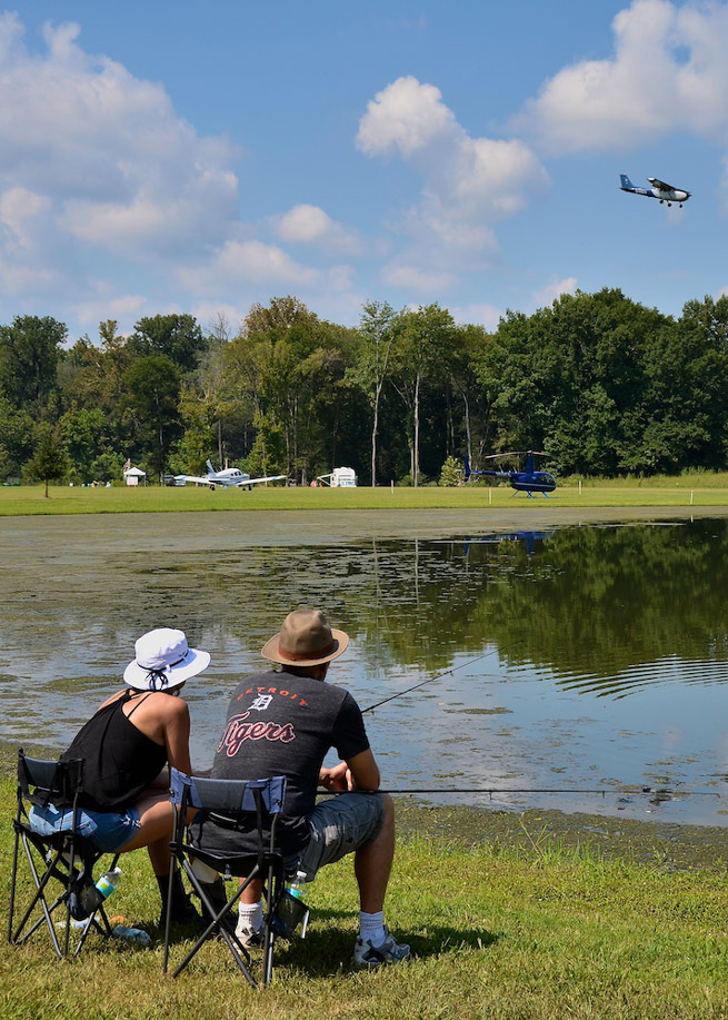 The airport features a 50-acre lake and a smaller duck pond stocked for fishing.