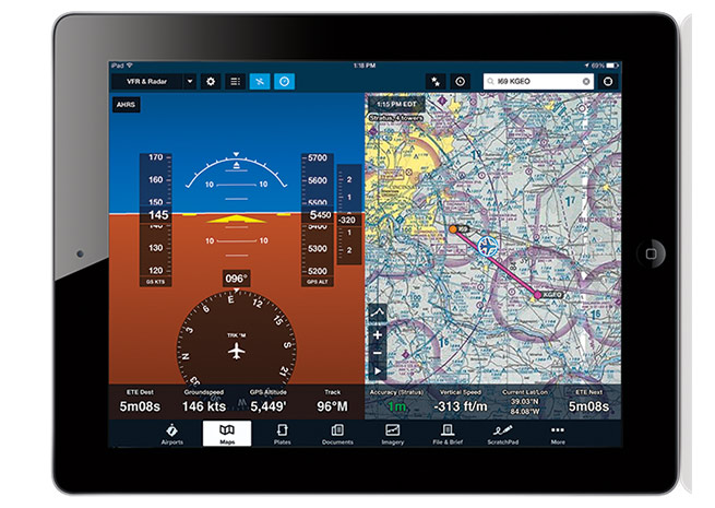 A ForeFlight update includes split-screen attitude view from the Stratus ADS-B receiver.
