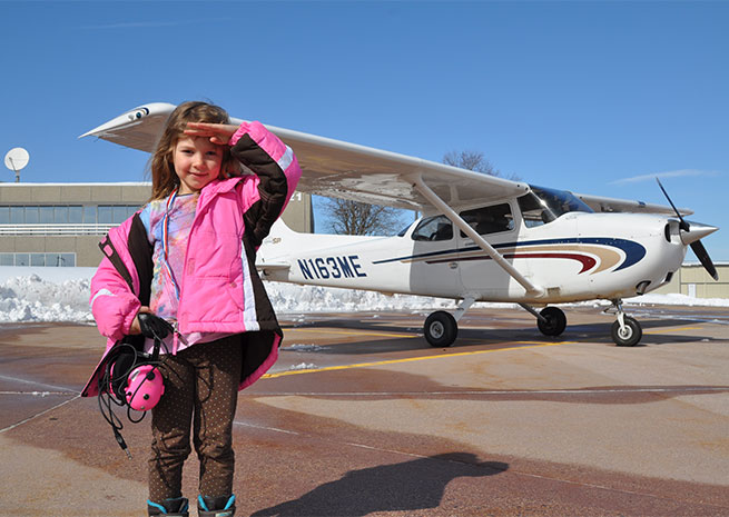 Sydney Hower was among the girls flown by AOPA pilots during Women of Aviation Worldwide Week.