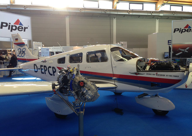 Piper and Continental unveil the diesel-powered Archer Dx at Aero Friedrichshafen.