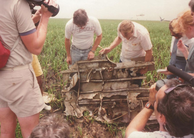 A search team including Jon F. Myhre examines wreckage found in the Florida Everglades in 1989. At the time, Myhre and others discounted the possibility this was the lead ship of Flight 19. Photo courtesy of Naval Air Station Fort Lauderdale Museum.