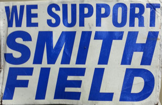 Signs supporting Smith Field Airport dotted yards in Fort Wayne, Ind., in 2002 when the community came together to save the field.