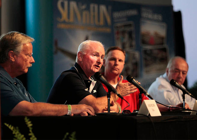 AOPA President Mark Baker fielded questions at the Pilot Town Hall.