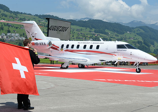 Pilatus unveiled its production prototype PC-24 on Aug. 1. Photo courtesy of Pilatus.