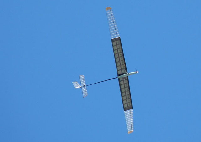 The Eos-Alpha, a scale model prototype with a 15-foot wingspand, has logged up to 35 hours of continuous flight. Photo courtesy of Global Flight Systems.