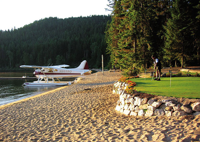 At Hill's Resort, docks are available for seaplanes, or they can beach next to the putting green.
