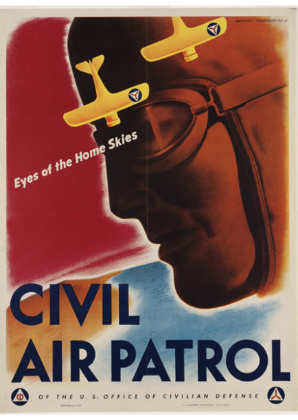 The iconic 1943 recruitment poster of the CAP in World War II was designed by V. Clayton Kenney of Cleveland, Ohio, himself a member of squadron 511-3, Chagrin Falls, Ohio. Source: U.S. Office of War Information, National Archives