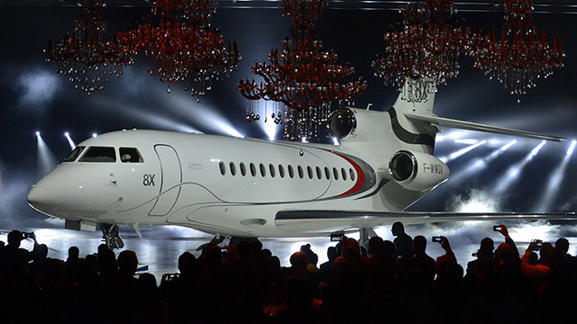 Dassault Aviation on Dec. 17 rolled out the first of its new line of ultra-long-range business jets, the Falcon 8X, at Dassault's final assembly plant in Merignac, France. Photo courtesy of Dassault Aviation.