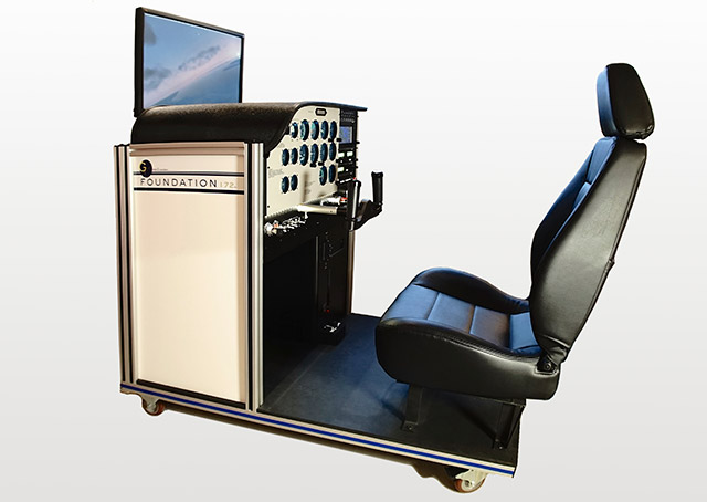 The foundation, an AATD modeled on the Cessna 172, has a base price of $30,000 and is sized to fit through doorways. Projection-screen visuals are optional. Photo courtesy of one-G simulation.