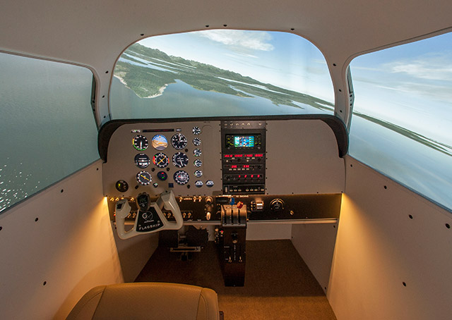 The one-G simulation flagship, an AATD, can replicate a Beechcraft Bonanza or Baron cockpit. Photo courtesy of one-G simulation.