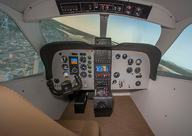 The tarbes 7 advanced aviation training device recreates a TBM 700 cockpit. Photo courtesy of one-G simulation.