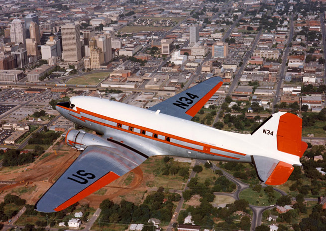 The FAA's DC-3, N34, is flying into retirement at a Texas museum. Photo courtesy of the FAA.