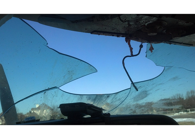 The goose crteated a significant hole in Baird's windscreen. Photo courtesy of Keith Baird.