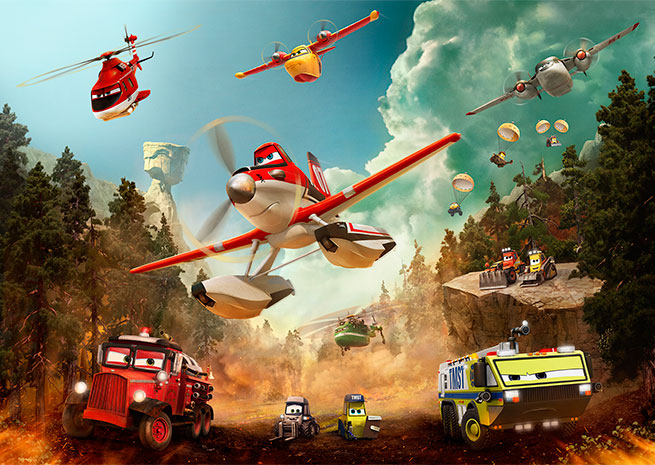 "The ""Planes: Fire and Rescue"" production team consulted with aviators and firefighters to create a realistic animated world. Image courtesy of Disney."