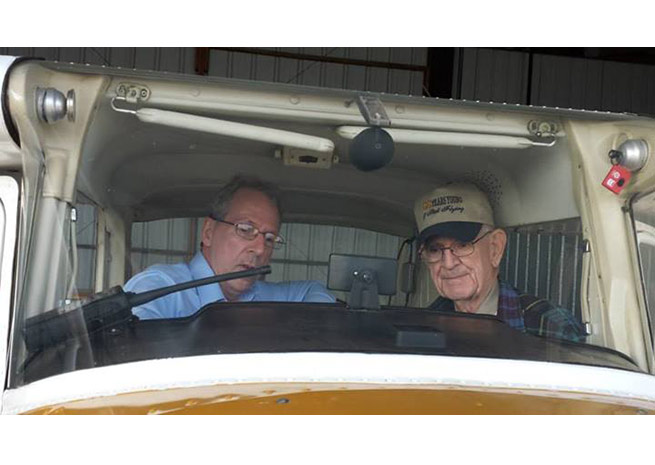 Paul Bowers (l) and his father Rodney, 89, flew coast to coast and return in a Cessna 150. Photo courtesy of Paul Bowers.