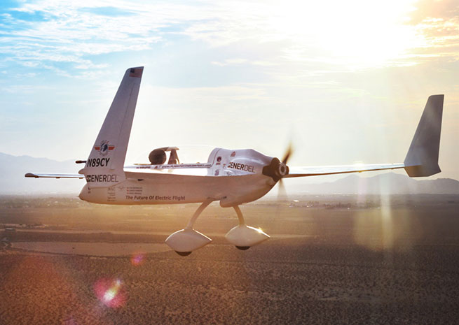 The Long-ESA, a modified Long-EZ running on battery powered, in flight. Photo courtesy of Yates Electrospace Corp.