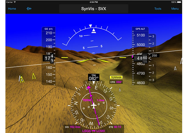 Garmin Pilot includes a synthetic vision display when it is paired with the GDL 39-3D.