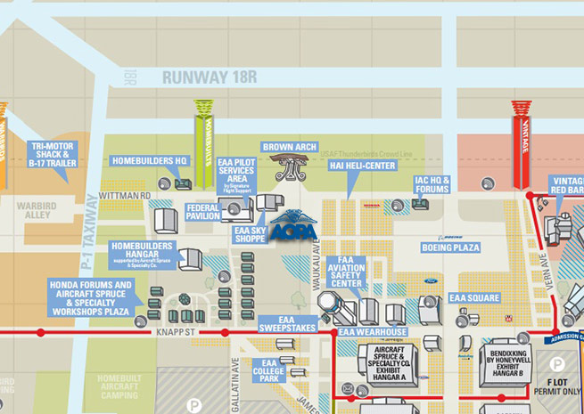 AOPA has a new location at EAA AirVenture. Click for full maps on the EAA AirVenture site.