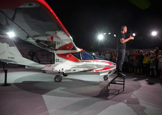 Icon Aircraft founder and CEO Kirk Hawkins speaks at an event at EAA AirVenture July 27.