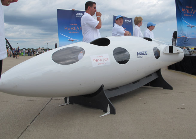 The Perlan Project announced a partnership with Airbus Group on July 28 at Boeing Plaza at EAA AirVenture. The group had a mockup of the glider that is expected to soar to 90,000 feet on display.