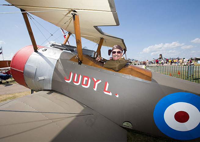 Burt's Sopwith Camel, built from a Robert Baslee kit, is a full-scale replica with a modern engine.