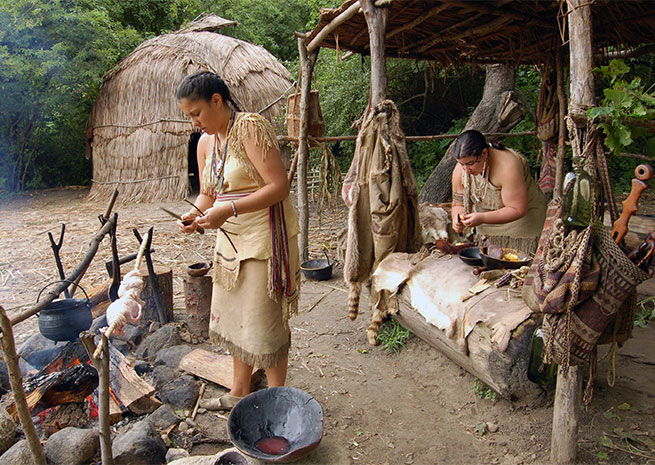 Plimoth Plantation recreates a slice of 1627 life, a living history reenactment of both Native American and Pilgrim life after the 1620 landing. Photo courtesy of Destination Plymouth County.