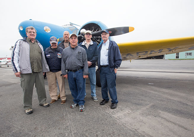 The Friday Chow Hounds, from left: Bill Stoddard (standby passenger), Warren Ecklund, Steve Reichert (filling in for a regular), Steve Medeiros, Ken Hadley, Bob Trinque (pilot).