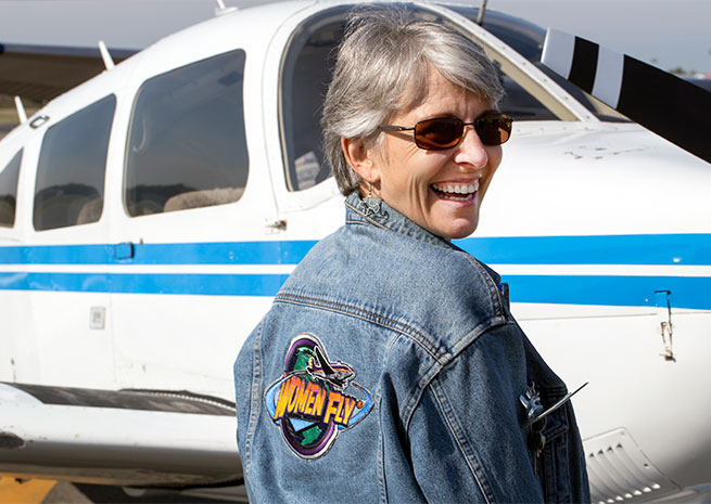Piper Archer owner and pilot Ellen Adams shows off her favorite jacket.