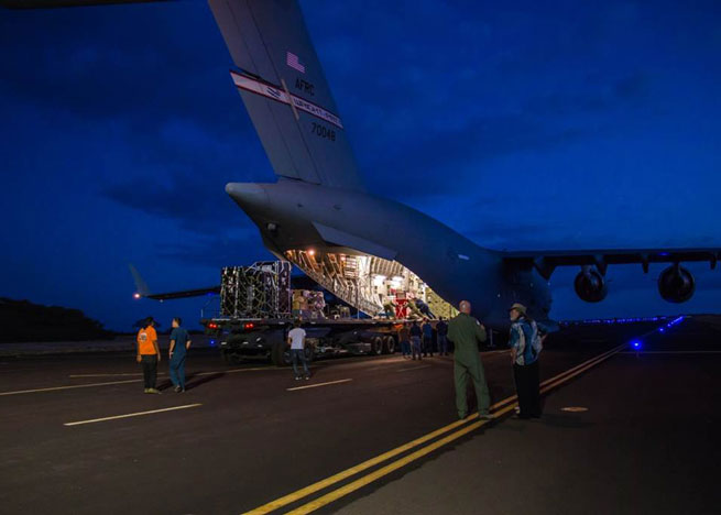 The Low-Density Supersonic Decelerator test device arrives in Hawaii for the launch. Image credit: NASA/JPL-Caltech