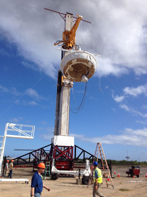 The experimental flight vehicle is prepared for preliminary testing in Kaua'i, Hawaii. Image credit: NASA/JPL-Caltech