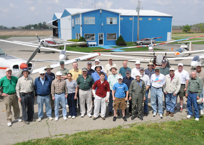 Central Indiana Soaring Society club members after buying the airport in 2004.