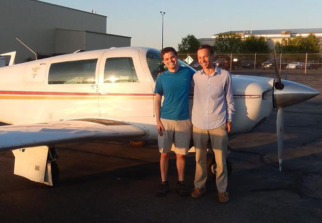 East Hill Flying Club members Jim Smith and Jean-Baptiste Jeannin after a West Coast tour in the club's Mooney M20.