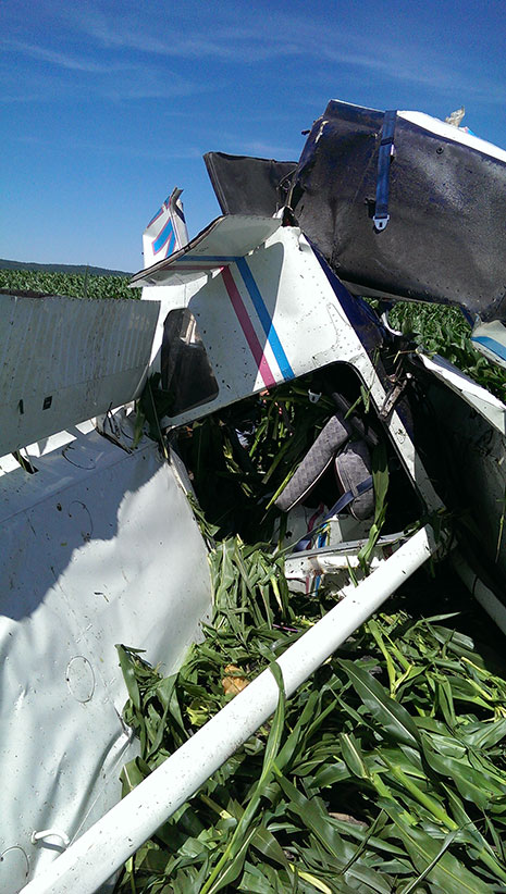 The Cessna 182 did not survive the ordeal, but no one was hurt. Photo courtesy of Shawn Kinmartin.