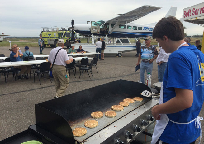 Where there's food, there's pilots. The Colorado Pilots Association's annual event included a pancake breakfast.