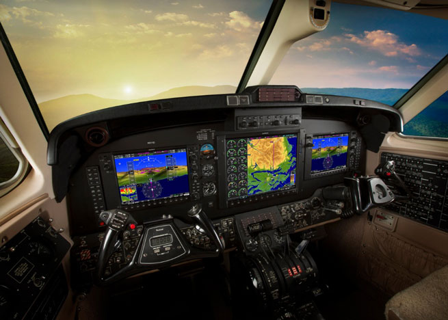Upgrades to Garmin G1000-equipped King Air 200/250/300/350 series aircraft include Automatic Dependent Surveillance-Broadcast (ADS-B) compliance, capability to create user-defined holding patterns, and the approval of optional equipment to increase its global operating capability. Garmin image.