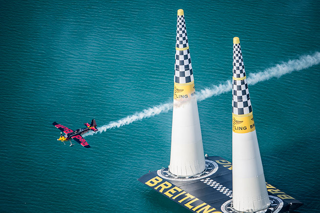 Kirby Chambliss of the United States performs during the race for the first stage of the Red Bull Air Race World Championship in Abu Dhabi, United Arab Emirates, on March 1, 2014. Photo by Balazs Gardi/Red Bull Content Pool.