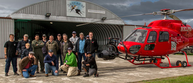 Film crew and pilots on location at The Vintage Aviator, Ltd., Masterton, New Zealand, April 2013. Photo courtesy Darroch Greer, The Millionaires' Unit.