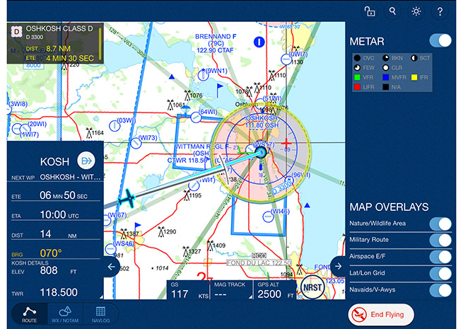Mobile FliteDeck VFR screen display courtesy of Jeppesen.
